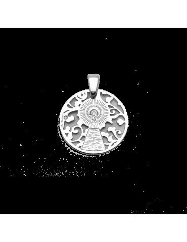 Medalla Virgen Pilar en Plata de Ley  cubierta de oro de 18kt y diamante