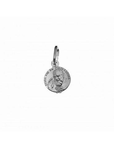 Medalla Padre Pio en plata de ley