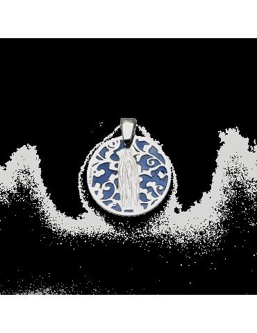 Medalla Virgen de Lourdes en plata de ley