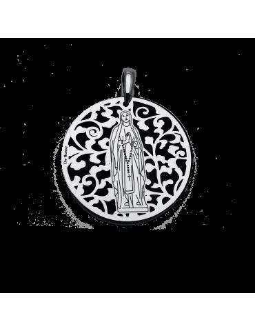 Medalla Virgen de Lourdes en Plata de Ley y ónix. 35mm