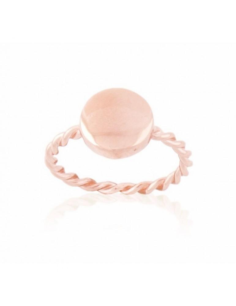Anillo Círculo plata de ley chapado en oro rosa 24 kt