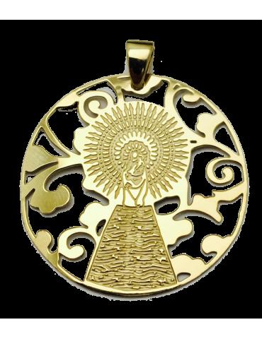 Medalla Virgen Pilar en Plata de Ley con baño de oro 35mm