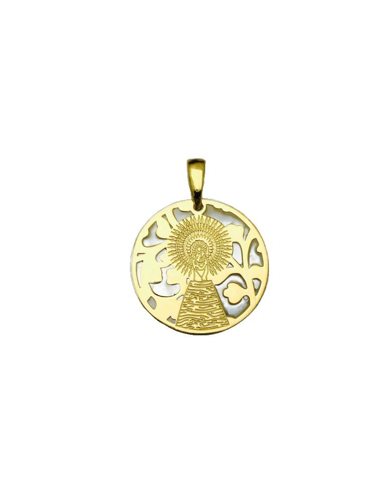 Medalla Virgen Pilar en Plata de Ley con baño de oro y nácar. 25mm