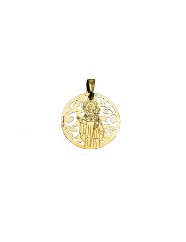 Medalla Sant Narcis en plata de ley cubierta de oro de 18kt