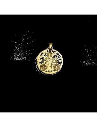 Medalla San Benito en plata de ley cubierta de oro de 18kt