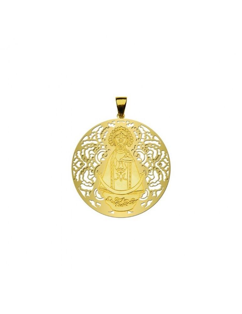 Medalla Virgen Llanos Plata Chapada en Oro 25mm