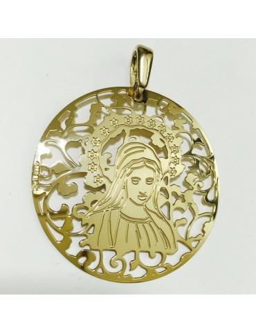 Medalla Virgen Medjugorje Plata Chapada en Oro 40mm