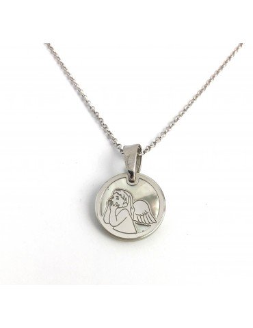 Medalla Angel plata de ley y nácar con cadena de 40cm