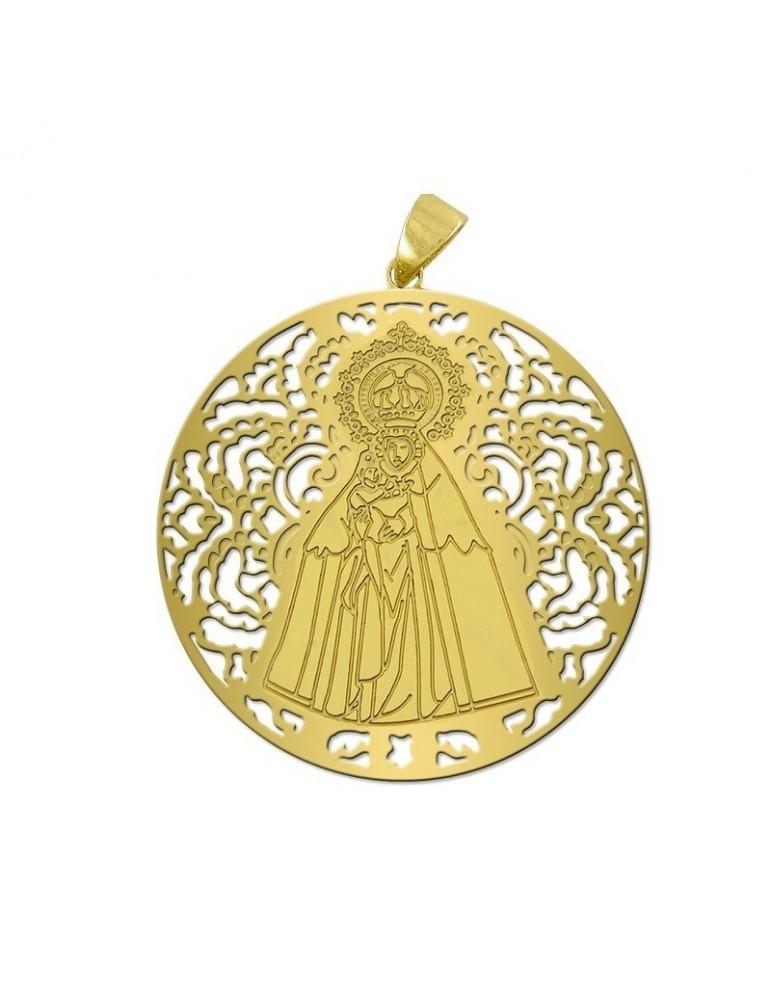Medalla Virgen del Mar Plata Chapada en Oro 25mm