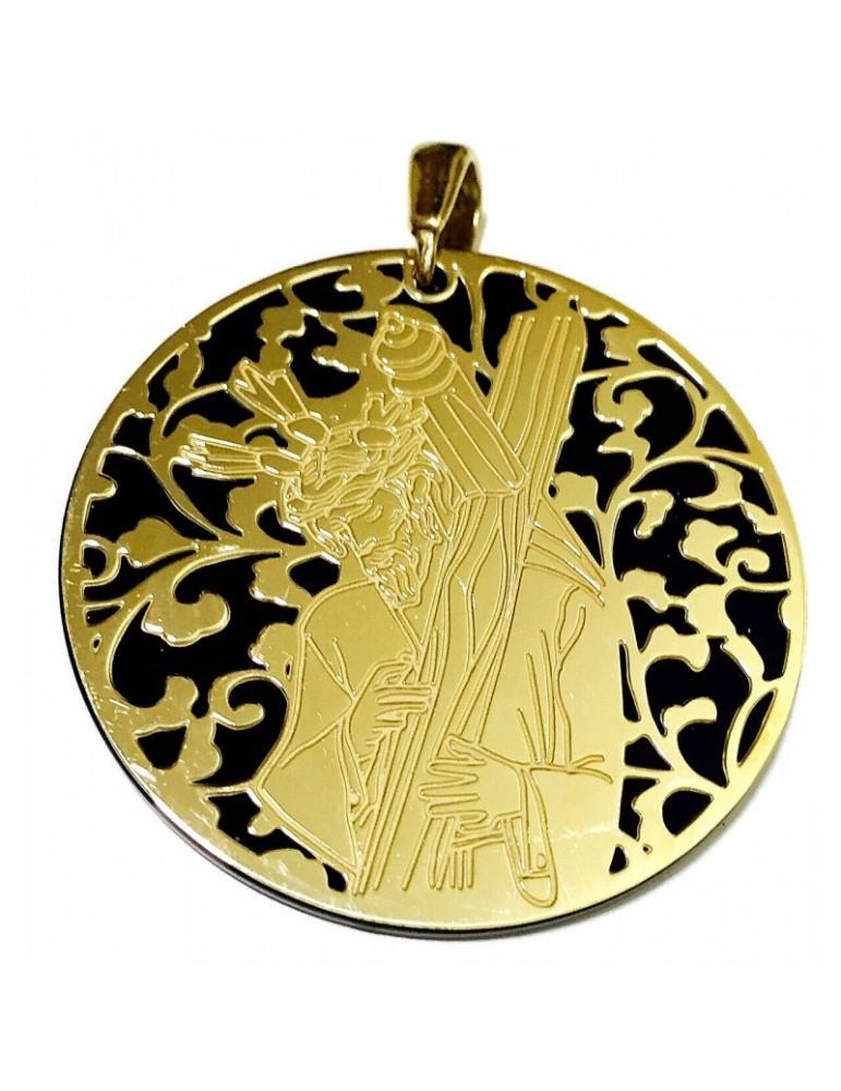 Medalla Cristo de los Gitanos Onix y plata 40mm