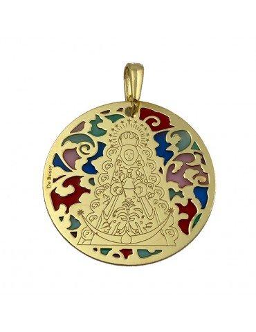Medalla Virgen del Rocío plata de ley y esmalte®. 35mm