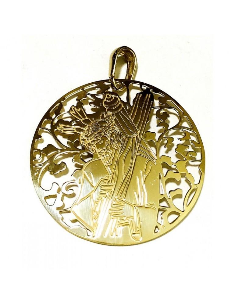 Medalla Cristo de los Gitanos plata chapada en oro 40mm