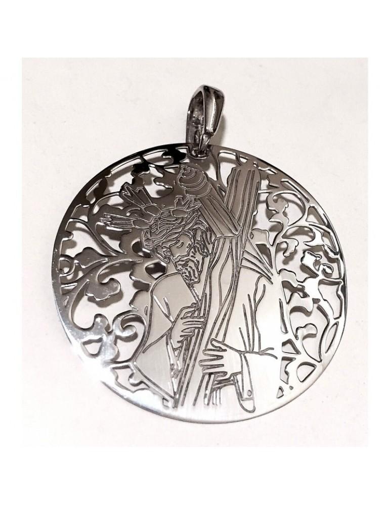 Medalla Cristo de los Gitanos plata de ley 40mm