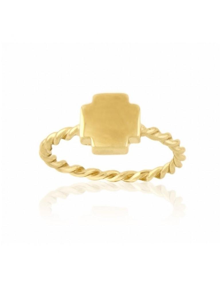 Anillo Cruz plata de ley chapado en oro amarillo 24Kt