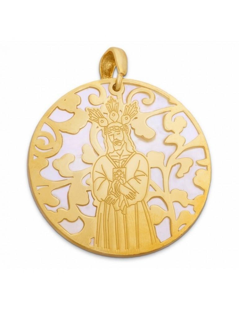 Medalla Jesús Cautivo nácar y plata chapada en oro 40mm
