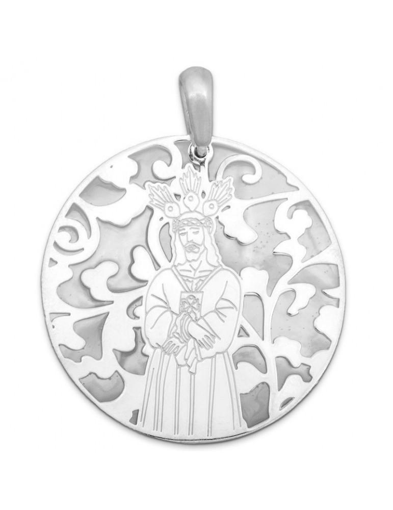 Medalla Jesús Cautivo nácar y plata de ley 40mm