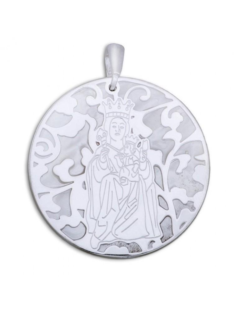 Medalla Virgen Victoria nácar y plata de ley 40mm