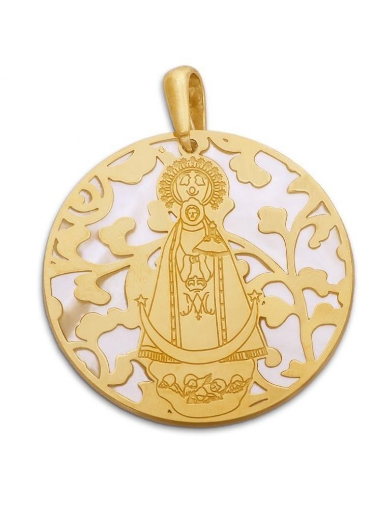 Medalla Virgen Llanos nácar y plata chapada en oro 40mm