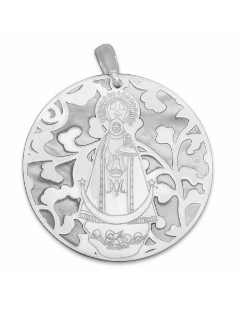 Medalla Virgen Llanos nácar y plata de ley 40mm
