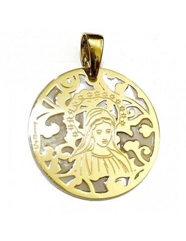 Medalla Virgen de Medjugorje plata chapada en oro y Nacar 25mm