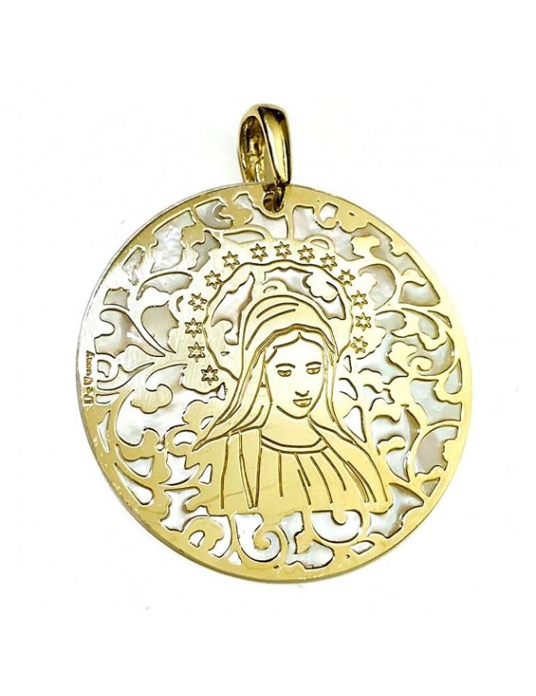 Medalla Virgen de Medjugorje plata chapada en oro y Nacar 40mm