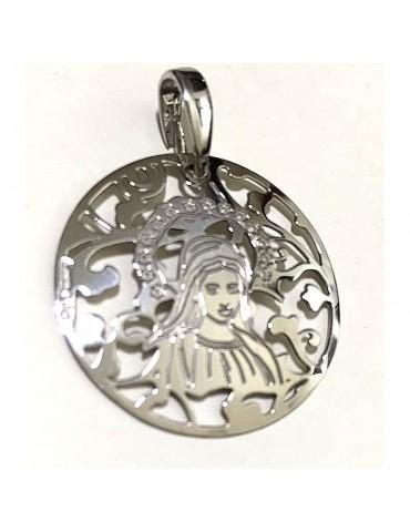 Medalla Virgen de Medjugorje plata de Ley 25mm