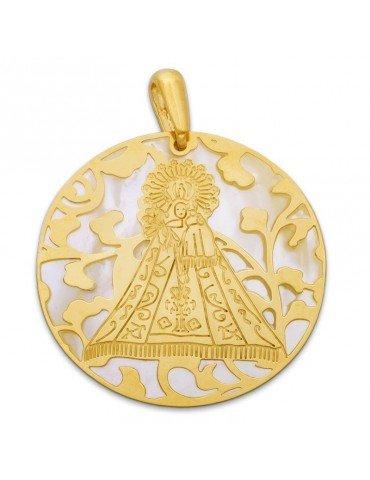 Medalla Virgen Monserrate plata de ley y nácar®. 40mm