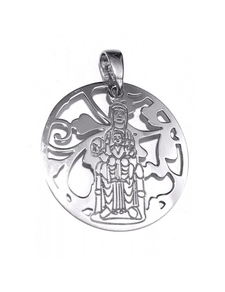 Medalla Virgen de Montserrat plata de Ley 25mm
