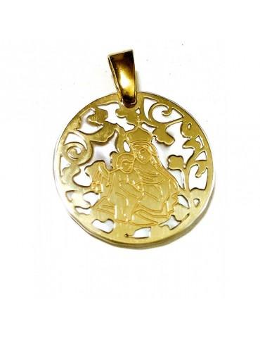 Medalla Virgen del Carmen nácar y plata chapada en oro 40mm