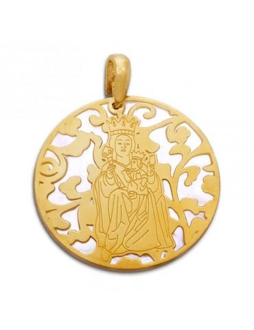 Medalla Virgen de la plata de ley y nácar. 40mm