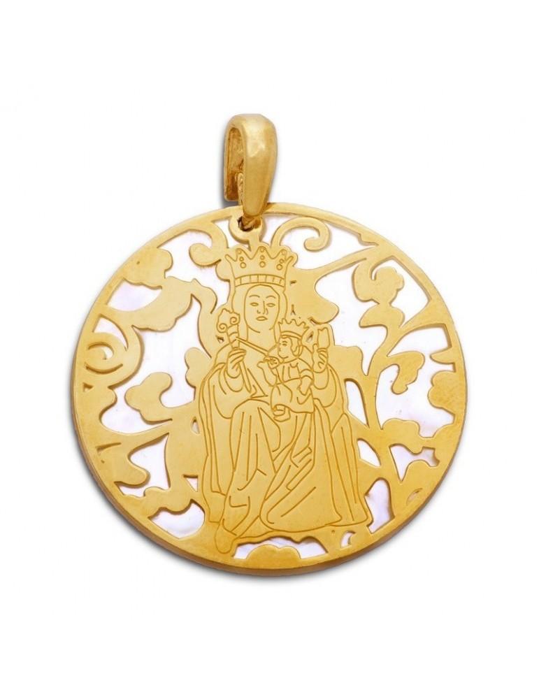 Medalla Virgen Victoria nácar y plata chapada en oro 40mm