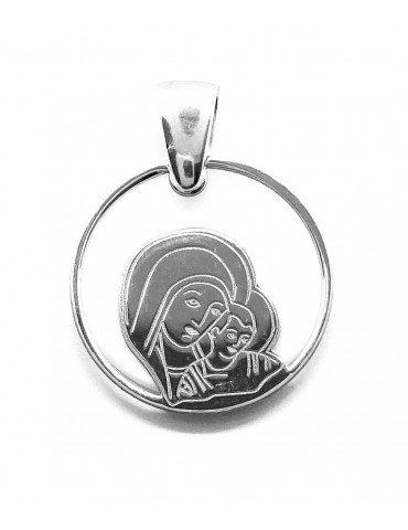 Medalla comunión Virgen del Camino Neocatecumenal plata de ley y nácar®. 20mm