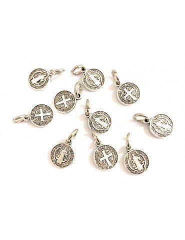 10 Medalla San Benito metal baño plata