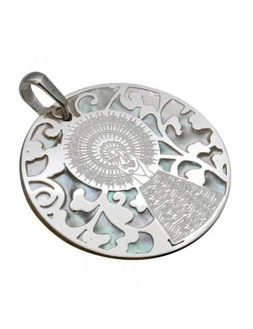 Medalla Virgen Pilar en Plata de Ley y nácar. 22mm