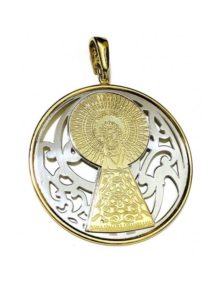 Medalla Virgen Pilar en Plata de Ley bicolor. 20mm