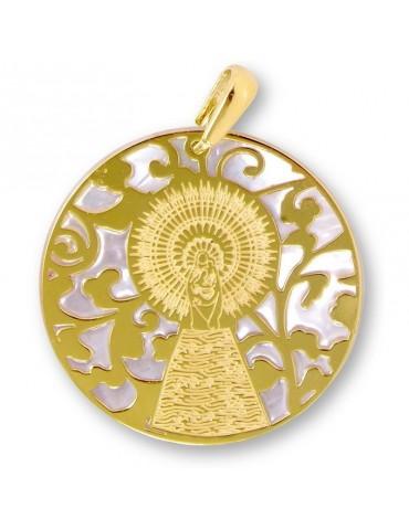 Medalla Virgen Pilar en Plata de Ley con baño de oro y nácar. 35mm