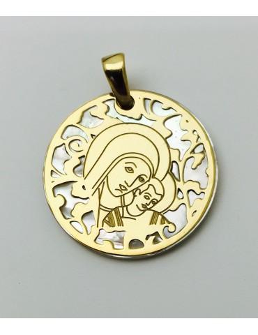 Medalla Virgen del Camino nácar y plata chapada en oro 25mm
