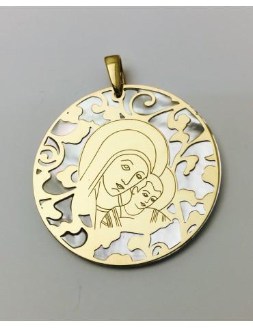 Medalla Virgen del Camino nácar y plata chapada en oro 40mm