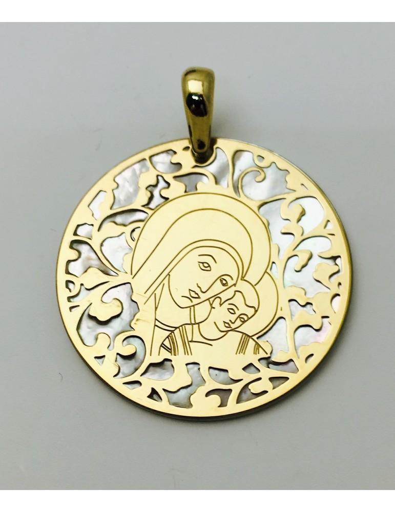 Medalla Virgen del Camino nácar y plata chapada en oro 35mm