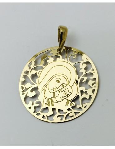 Medalla Virgen del Camino Plata Chapada en Oro 40mm