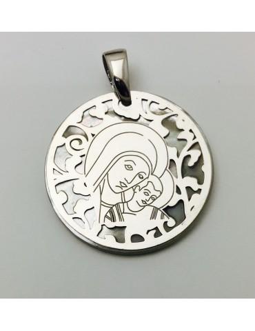 Medalla Virgen del Camino nácar y plata 25mm
