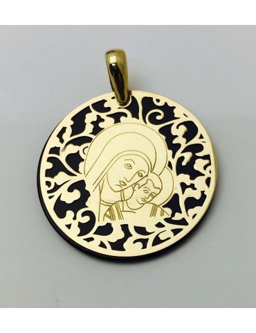 Medalla Virgen del Camino ónix y plata chapada en oro 35mm