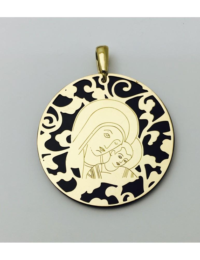 Medalla Virgen del Camino ónix y plata chapada en oro 40mm