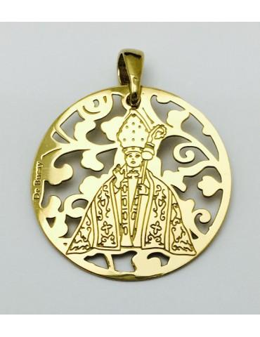 Medalla plata de ley San Fermín baño de Oro 25mm