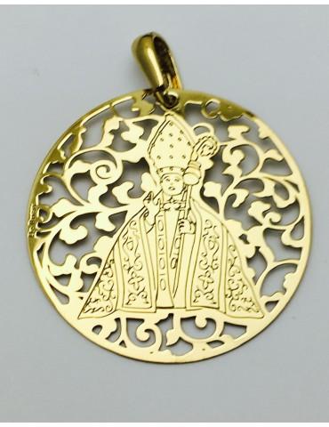 Medalla plata de ley San Fermín baño de oro 40mm