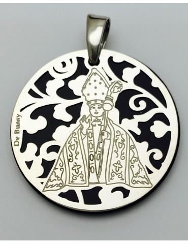 Medalla plata de ley San Fermín Onix 25mm