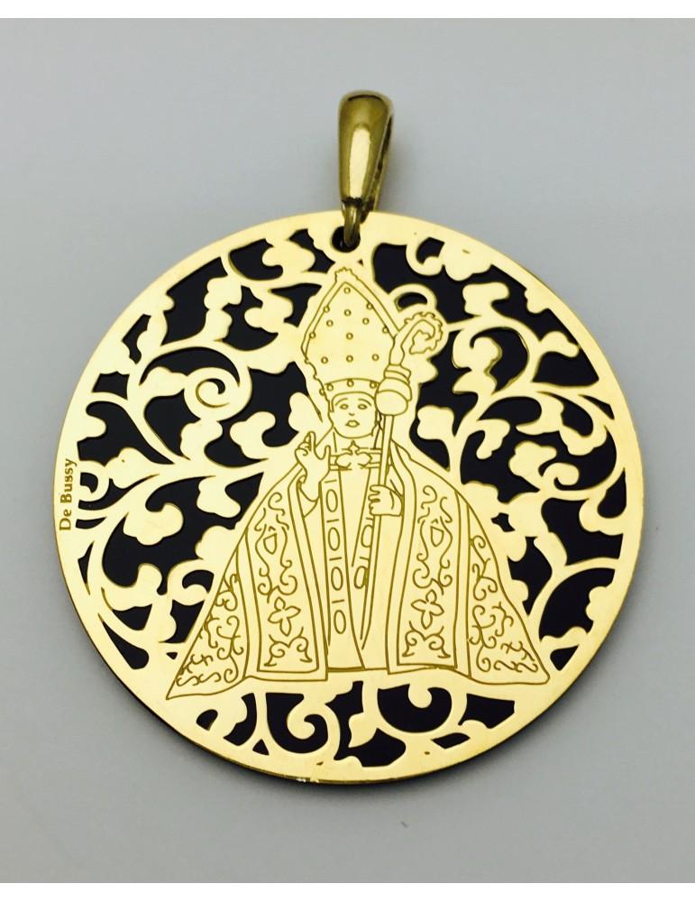 Medalla plata de ley San Fermín baño de Oro Onix 40mm
