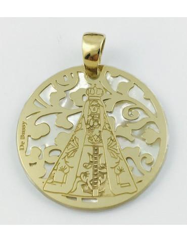 Medalla Virgen Nuestra Señora de Begoña plata chapada en oro y nácar 25mm