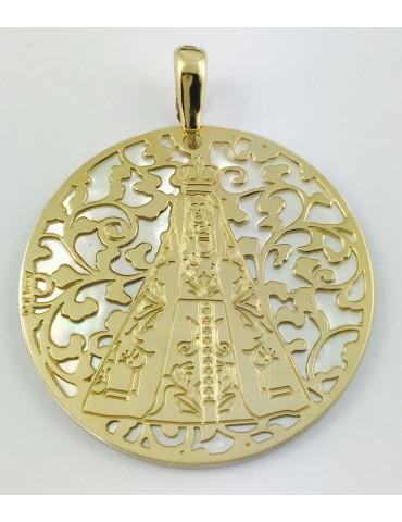 Medalla Virgen Nuestra Señora de Begoña plata chapada en oro y Nacar 40mm