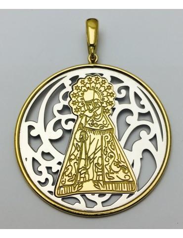 Medalla Virgen Desamparados Plata y baño de Oro 40mm